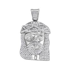 1.6 CTW Mens Diamond Jesus Christ Head Charm Pendant 10KT White Gold - REF-86M3H