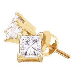 1.05 CTW Princess Diamond Solitaire Stud Earrings 14KT Yellow Gold - REF-179K9W
