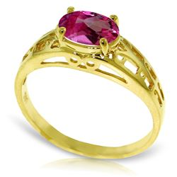 Genuine 1.15 ctw Pink Topaz Ring Jewelry 14KT Yellow Gold - REF-32K3V
