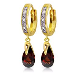 Genuine 2.53 ctw Garnet & Diamond Earrings Jewelry 14KT Yellow Gold - REF-60F4Z