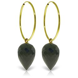 Genuine 24.5 ctw Black Spinel Earrings Jewelry 14KT Yellow Gold - REF-36K2V