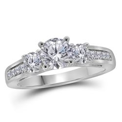 1.25 CTW Diamond 3-stone Bridal Engagement Ring 14KT White Gold - REF-307M4H