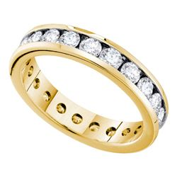 1.5 CTW Diamond Bridal Wedding Anniversary Eternity Ring 14k Yellow Gold - REF-134N9F