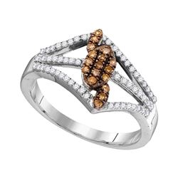 0.33 CTW Cognac-brown Color Diamond Cluster Triple Strand Ring 10KT White Gold - REF-26K9W
