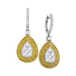 2.14 CTW Yellow Diamond Teardrop Cluster Dangle Earrings 18KT White Gold - REF-330H2M