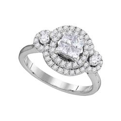 0.82 CTW Princess Diamond Circle Cluster Bridal Engagement Ring 14KT White Gold - REF-108N2F