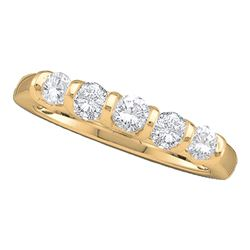0.50 CTW Diamond 5-stone Single Row Wedding Ring 14KT Yellow Gold - REF-52F4N