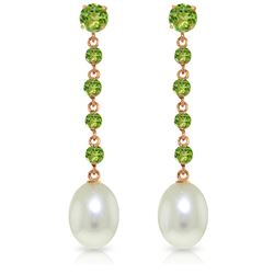 Genuine 10 ctw Peridot & Pearl Earrings Jewelry 14KT Rose Gold - REF-32W4Y