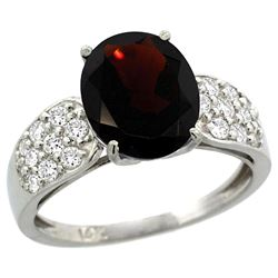 Natural 2.75 ctw garnet & Diamond Engagement Ring 14K White Gold - REF-61A4V