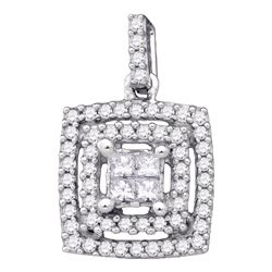 0.30 CTW Princess Diamond Square Cluster Pendant 14KT White Gold - REF-34F4N