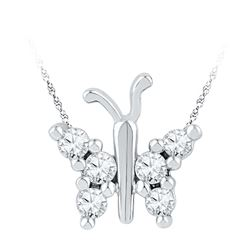 0.20 CTW Diamond Small Butterfly Bug Insect Unique Pendant 10KT White Gold - REF-18M2H
