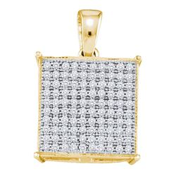 0.30 CTW Pave-set Diamond Square Cluster Pendant 10KT Yellow Gold - REF-24Y2X