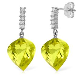 Genuine 21.65 ctw Lemon Quartz & Diamond Earrings Jewelry 14KT White Gold - REF-52H9X