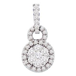 0.51 CTW Diamond Circle Flower Cluster Pendant 14KT White Gold - REF-49Y5X