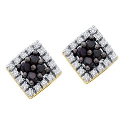 0.25 CTW Black Color Diamond Square Cluster Earrings 14KT Yellow Gold - REF-18N2F