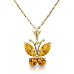 Genuine 0.60 ctw Citrine Necklace Jewelry 14KT Yellow Gold - REF-23A5K