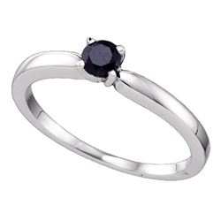 0.25 CTW Black Color Diamond Solitaire Bridal Ring 10KT White Gold - REF-12H8M