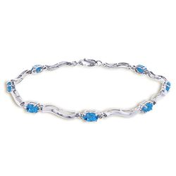 Genuine 2.16 ctw Blue Topaz & Diamond Bracelet Jewelry 14KT White Gold - REF-76Z7N