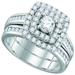 0.98 CTW Diamond Solitaire Double Halo Bridal Engagement Ring 14KT White Gold - REF-112M5H