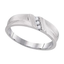 0.06 CTW Diamond Channel-set Mens Masculine Lightweight Ring 10KT White Gold - REF-20N9F