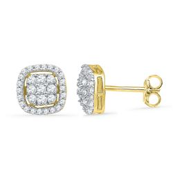 0.50 CTW Diamond Square Cluster Earrings 10KT Yellow Gold - REF-34W4K