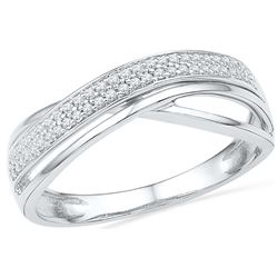 0.12 CTW Diamond Crossover Ring 10KT White Gold - REF-18Y2X
