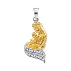0.10 CTW Diamond Mom Mother & Child Embrace Pendant 10KT Two-tone Gold - REF-14K9W