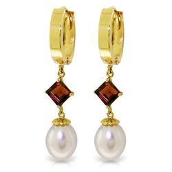 Genuine 9.5 ctw Pearl & Garnet Earrings Jewelry 14KT Yellow Gold - REF-53Z2N