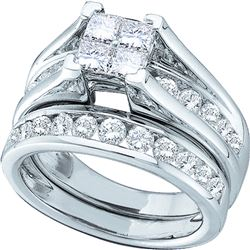 5 CTW Princess Diamond Bridal Engagement Ring 14KT White Gold - REF-750F2N