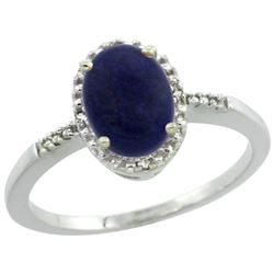 Natural 1.03 ctw Lapis & Diamond Engagement Ring 10K White Gold - REF-15R9Z