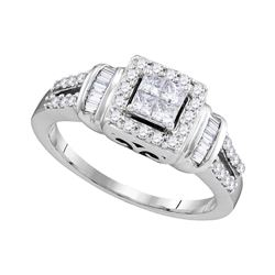 0.50 CTW Princess Diamond Halo Bridal Engagement Ring 10KT White Gold - REF-52M4H