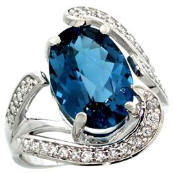 Natural 6.22 ctw london-blue-topaz & Diamond Engagement Ring 14K White Gold - REF-137M2H