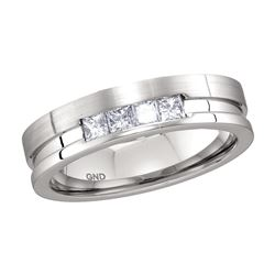 0.50 CTW Mens Princess Channel-set Diamond Single Row Ring 14KT White Gold - REF-120F2N