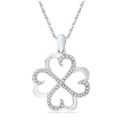 0.20 CTW Diamond Heart Love Pendant 10KT White Gold - REF-19F4N