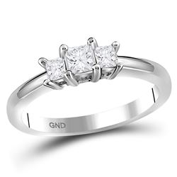 0.50 CTW Princess Diamond 3-stone Bridal Engagement Ring 14KT White Gold - REF-59K9W