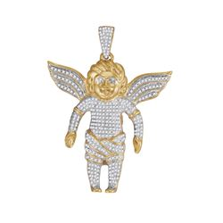 0.87 CTW Mens Diamond Guardian Angel Charm Pendant 10KT Yellow Gold - REF-89K9W