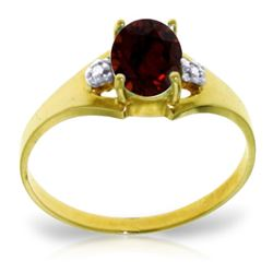 Genuine 0.76 ctw Garnet & Diamond Ring Jewelry 14KT Yellow Gold - REF-20H8X