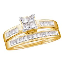 1 CTW Princess Diamond Bridal Engagement Ring 14KT Yellow Gold - REF-89M9H