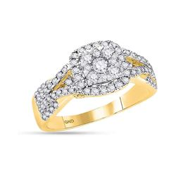 0.95 CTW Diamond Square Cluster Bridal Engagement Ring 14KT Yellow Gold - REF-97M4H