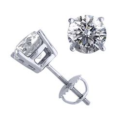 14K White Gold Jewelry 2.06 ctw Natural Diamond Stud Earrings - REF#521H4F-WJ13300