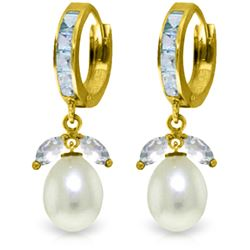Genuine 10.30 ctw Aquamarine & Pearl Earrings Jewelry 14KT Yellow Gold - REF-61Y8F