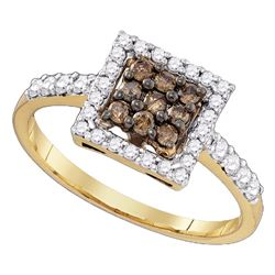 0.50 CTW Cognac-brown Color Diamond Cluster Ring 10KT Yellow Gold - REF-30N2F