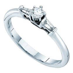 0.19 CTW Diamond Solitaire Bridal Engagement Ring 14KT White Gold - REF-38N9F