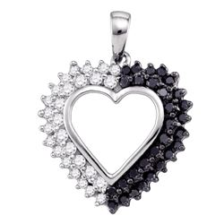 0.50 CTW Black Color Diamond Heart Love Anniversary Pendant 10KT White Gold - REF-30X2Y