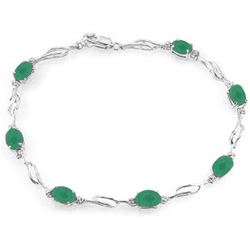 Genuine 3.51 ctw Emerald & Diamond Bracelet Jewelry 14KT White Gold - REF-118Z2N