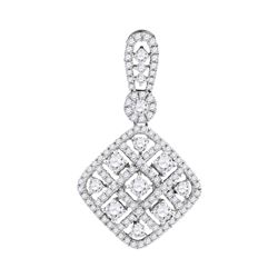 0.97 CTW Diamond Square Pendant 10KT White Gold - REF-82Y5X