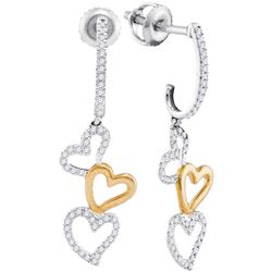 0.25 CTW Diamond Dangling Triple Heart Earrings 10KT Two-tone Gold - REF-26Y9X