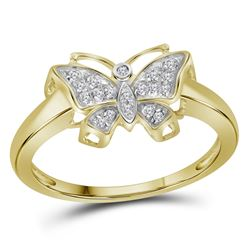 0.08 CTW Diamond Butterfly Bug Cluster Ring 10KT Yellow Gold - REF-14W9K