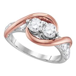 1 CTW Diamond 2-stone Bridal Wedding Engagement Ring 14KT Two-tone Gold - REF-116X3Y