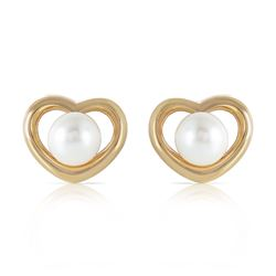 Genuine 4 ctw Pearl Earrings Jewelry 14KT Yellow Gold - REF-40K7V